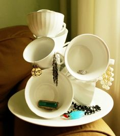 So cute!  Glue mugs together for a funky jewelry holder. by MySydnie