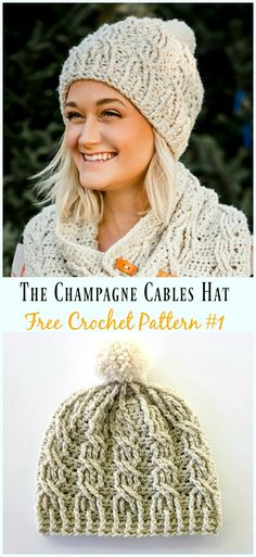 crochet beanie ideas The Champagne Cables Hat Crochet Free Pattern - Crochet Beanie Pattern, Crochet Stitches Patterns, Knitting Patterns, Knitted Hats, Crochet Hats, Crochet Sweaters, Crochet Cable, Beautiful Crochet, Crochet Clothes