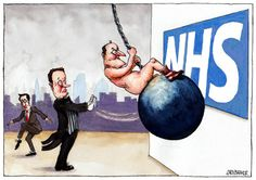 David Cameron NHS wrecking ball cartoon for this week's Tribune.  Gary Barker. https://www.facebook.com/gary.barker.9237