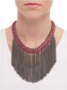 Statement Fringed Necklace Multi-colour 260