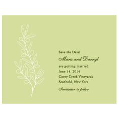 Olive Branch Save the Date cards - For a rustic, farm, ranch or other outdoor wedding. Great if you're using greenery as part of your wedding decor! - Wine Country Occasions.