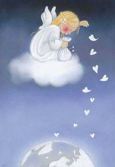 Angel Confetti From Heaven - Klikkaa sulkeaksesi Kaarina Toivanen Angel Images, Angel Pictures, Art Fantaisiste, Angel Drawing, I Believe In Angels, Angels Among Us, Angel Cards, Guardian Angels, Vintage Christmas Cards