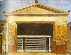 Illustration of the House of the Gladiators or the Schola Armaturarum Iuventutis Pompeianae in Spinazzola's 1953 publication of the Via dell' Abbondanza. The house was an armory where the weapons of the gladiators  were kept in wooden cabinets. During WW2 a bomb destroyed the reconstructed roof and it  collapsed into rubble in 2010 raised serious questions about the management of the site.  Five years later, reconstruction of the building has begun. Later the frescoes will also be…