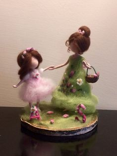 Needle felted Mother and daughter Waldorf inspired Customer