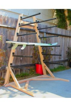 Surf Rack Build With A Shelf Cubby For Wetsuits . Shown Here Is A 4 Board Freestanding Paddle Board Rack It . Surfboard Storage, Surfboard Rack, Kayak Storage Rack, Kayak Rack, Storage Cart, Drawer Storage, Garage Storage, Storage Ideas, Decoration Surf
