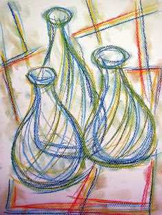 Bottles #art #pastels #bottle #drawing #abstract