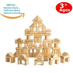 CECII 100 Pcs Wooden Blocks Wood Building Block Set with Carrying Bag - Real Wood(Natural Colored): 100 Pieces Wooden Toy Set , Real Wood./bbr/p Wooden Building Blocks, Wooden Blocks, Building Toys, Toys For Girls, Kids Toys, Kids Blocks, Containers For Sale, Stacking Blocks, Traditional Toys