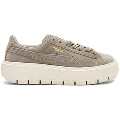 Puma Suede Platform Trace Sneaker (1010 MAD) ❤ liked on Polyvore featuring shoes, sneakers, laced sneakers, suede lace up shoes, lace up sneakers, lacing sneakers and rubber sole shoes