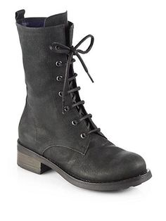 Pollini  Leather Lace-Up Combat Boots at Saks Fifth Avenue