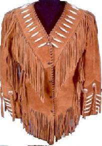 Suede Leather Fringe Jacket Coat with Hairpipe Bone Beads $200.00  #TEAMSELLIT# This lady handmakes all her Items