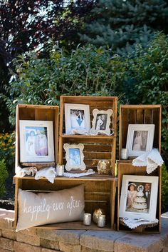 Wine Crate Wedding Photo Display