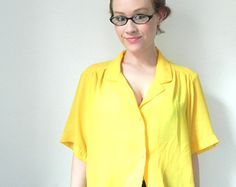 Happy Little Daffodil Vintage Blouse // Sheer Yellow Top