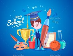 Back To School. Cute Schoolchild Near Supplies