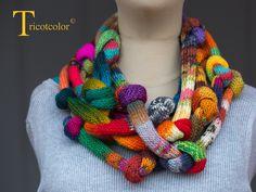 """RESERVE Tricot Col femme tricoté main en pure laine """" Serpentins noués """" : Echarpe, foulard, cravate par tricotcolor"""