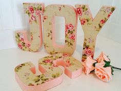 3D Letters  fabric letters Floral letters by ArtTherapyStudio