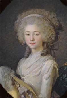 Miniature portrait of Anne Félicité Simone de Serent by Antoine Vestier (1788)