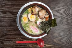 Ramen comes with egg noddles, nori, bamabo, pork slices, fishball, fishcake, scallions, and sprouts. With your choice of broth, noddles, and protein.
