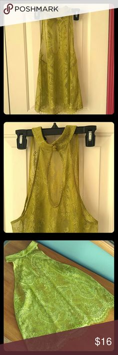 Lime Green Lace Sleeveless Top High-neck, lace, sheer tank top. Lime green color. Forever 21 Tops Tank Tops