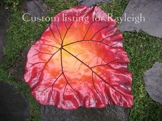Custom listing  Rhubarb concrete leaf in warm colors by StudioJLK