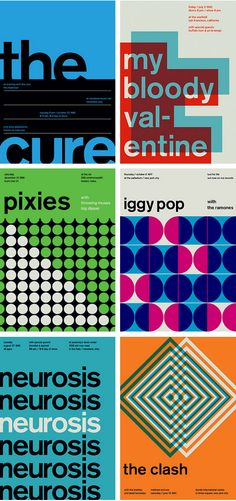 Swissted is an ongoing project by graphic designer Mike Joyce; Mike has redesigned vintage punk, hardcore, and indie rock show flyers into international typographic style posters.