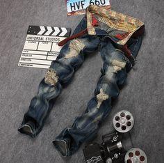 2a9b16576e7 2017 Newsosoo Style biker ripped cotton men jeans luxury Men s casual denim  trousers hole zipper Slim