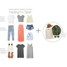 When Fashion Meets Function: Packing For Spain by heyelizabethh on Polyvore