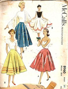 Vintage Sewing Pattern Skirt McCalls 8960
