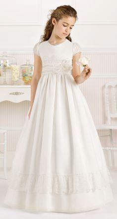 $102.47-Cute A-Line Long Floral Short-Sleeve Scoop-Neck Satin Flower Girl Dress/ Little Girl Wedding Dress. http://www.ucenterdress.com/a-line-long-floral-short-sleeve-scoop-neck-satin-flower-girl-dress-with-lace-pMK_400035.html.  Shop for best flower girl dress, baby girl dress, girl party dress, gowns for girls, dresses for girl, children dresses, junior dress, pageant dresses for girls We have great 2016 fall Flower Girl Dresses on sale. Buy Flower Girl Dresses online at UcenterDress.com!