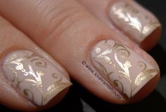 Nude nails with gold brocade