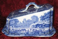 Scarce Spode Antique Copeland Spode's Blue Italian Covered Cheese Wedge Dish | eBay Flow Blue China, Blue And White China, Red And White, Cheese Dome, White Pot, Antique Dishes, White Dishes, Blue Plates, Delft