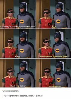 Batman knows the importance of good grammar. Be like Batman and use adverbs wis - Be Batman - Ideas of Be Batman - Batman knows the importance of good grammar. Be like Batman and use adverbs wisely. Dc Memes, Funny Memes, Hilarious, I Am Batman, Superman, Funny Batman, Batman Robin, Gotham Batman, Batman Humor