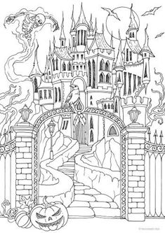 Scary Castle - Printable Adult Coloring Page from Favoreads (Coloring book pages for adults and kids, Coloring sheets, Colouring designs) Scary Coloring Pages, Castle Coloring Page, Free Halloween Coloring Pages, Pumpkin Coloring Pages, Skull Coloring Pages, Monster Coloring Pages, Printable Adult Coloring Pages, Coloring Book Pages, Halloween Coloring Pictures