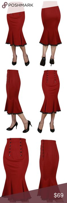 "Plus Size Pin Up Pencil Skirt Fishtail Lace Red New Plus Size Pin Up Pencil Skirt!  ❤SPECIAL ORDER DELIVER 5-12 DAYS  This is a high waited pin up skirt. Lace on the bottom. There are buttons functional for getting in and out of the skirt.  LENGTH: 33"" POLYESTER CS Skirts Pencil"