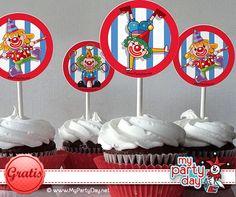 Cupcake toppers for a Circus Party / Toppers para cupcakes para una fiesta de circo 21st, Free, Day, Circus Party, Horses, Printables
