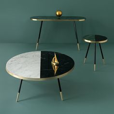 British designer Bethan Gray has created a collection of tables with marble tops wrapped in bands of brass