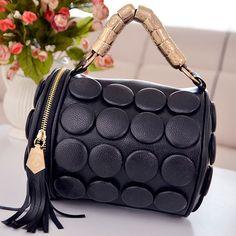 49d7b53e4c6f Tassel Embellished Black Leather Bag