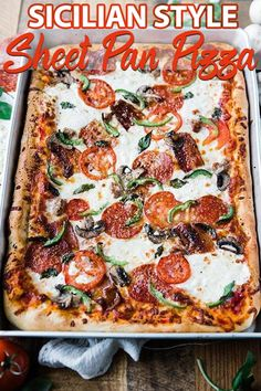 Sheet Pan Sicilian Pizza Recipe - Sheet Pan Sicilian style pizza recipe is homemade in a sheet pan to help feed the whole family! It's delicious made up of homemade dough, cheeses and toppings and it's incredibly easy to make. Sicilian Pizza Recipe, Sicilian Style Pizza, Sicilian Recipes, Sicilian Food, Sheet Pan Pizza Recipe, Recipe Sheets, Pizza Recipes, Cooking Recipes, What's Cooking