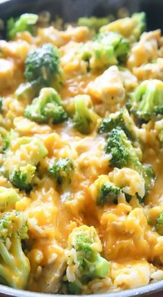 One-Pan Cheesy Chicken, Broccoli, and Rice. FOR LOW CARB, SUBSTITUTE RICE FOR CAULIFLOWER RICE!!!
