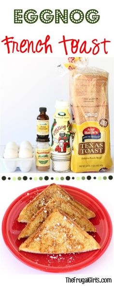 Eggnog French Toast Recipe!  Don't let your weekend breakfast or Thanksgiving or Christmas Brunch go on without this EASY crowd-pleasing french toast!