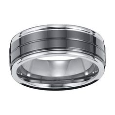 ARTCARVED LINEAR STRIPE TUNGSTEN CARBIDE MENS WEDDING BAND