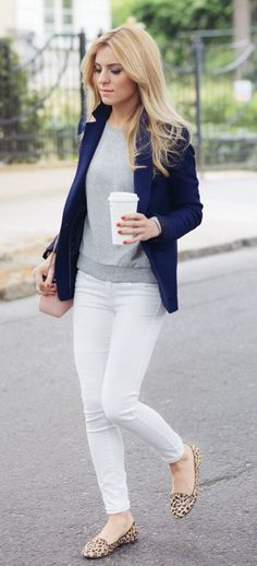 summer outfits  Navy Blazer + Grey Top + White Skinny Jeans + Leopard Flats