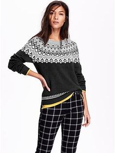 "Fair Isle Sweater | Old Navy | Or a sweater with a patern like this might be fun too instead of a polka dot one if they're not ""in"" or available."