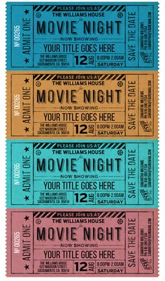Please Join Us At A Movie Night, Party invitation in four colors for instant download at #etsy shop 'Ideas2Print' #partyprintables #party #artsncrafts #digital #digitaldownload #movienight #movieticketinvitation #movieticket #vintagestyle #ticketdesign #ticket #savethedate