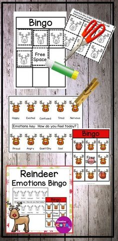 Reindeer Feelings and Emotions Bingo Activity Classroom Activities, Learning Activities, Teaching Ideas, Social Skills For Kids, Positive Mental Health, Kindergarten Lesson Plans, Emotional Regulation, Social Emotional Learning, Feelings And Emotions