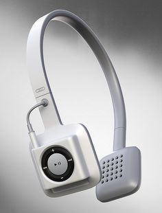 The is a cord-free headphone set that ONLY works with the iPod Shuffle. It's meant to be the coolest, simplest, cord-free workout experience. I really want to see one for the touchscreen iPod N Phone Gadgets, Gadgets And Gizmos, Technology Gadgets, Tech Gadgets, Cool Gadgets, Technology Design, Ipod Nano, Apple Products, Audiophile