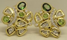 SEIDENGANG DIAMOND PERIDOT 18K GOLD EARRINGS #SEIDENGANG #Clip