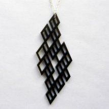 """An acrylic pendant on sterling silver chain. The chain is 16"""" long. If you would like the chain to be a custom length, just send me a message. - See more at: http://supermarkethq.com/product/grid-acrylic#sthash.Jufc9a0N.dpuf"""