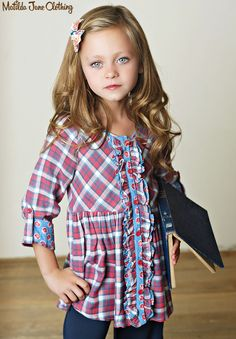 Love love love!! Plaid. Tunic. Fall. Obsessed.  Friends Forever, Fall 2015: Harper Tunic, Annabelle Big Ruffles and Jenna Hair Bow