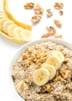 Steel cut oats cook overnight with bananas, walnuts and spices to create a healthy, make-ahead breakfast that will be waiting for you in the morning.