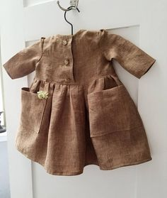 Baby Girls Boho Linen Dress-Baby Boho Dress-Girls Linen